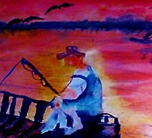 Catching dinner, fauvish, watercolor by Anna  Lewis, blind artist