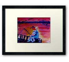 Catching dinner, fauvish, watercolor Framed Print