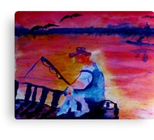 Catching dinner, fauvish, watercolor Canvas Print
