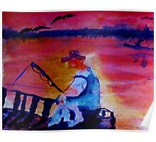 Catching dinner, fauvish, watercolor Poster