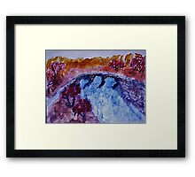 Country bridg ein the fall, watercolor Framed Print