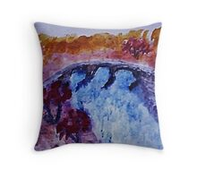Country bridg ein the fall, watercolor Throw Pillow