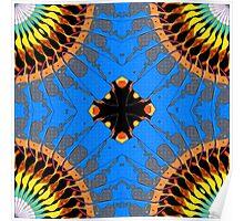 Abstract Blue Mandala Pattern Poster