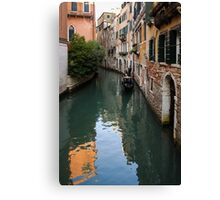 Venice Italy - Green Canal Reflections and a Gondola Canvas Print