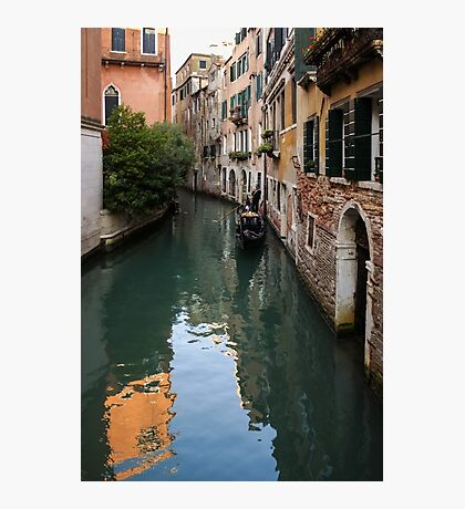 Venice Italy - Green Canal Reflections and a Gondola Photographic Print