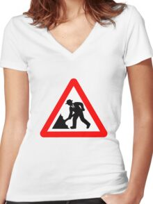 Caution! Men Singin' In The Rain!  Women's Fitted V-Neck T-Shirt