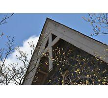 Wooden Cross on Stone Church  Photographic Print