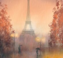 A rainy evening in Paris by John Edwards