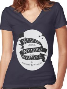 Weasleys' Wizard Wheezes (White BG) Women's Fitted V-Neck T-Shirt