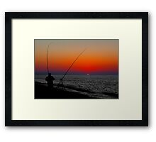 ANGLERS SILHOUETTED ON CLEY BEACH Framed Print