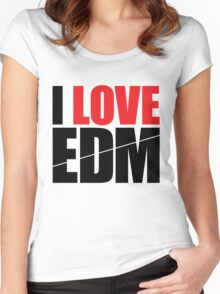I Love EDM (Electronic Dance Music)  [black] Women's Fitted Scoop T-Shirt