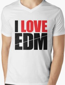 I Love EDM (Electronic Dance Music)  [black] Mens V-Neck T-Shirt
