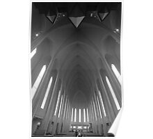 Hallgrimskirkja, a church with modern architecture in Iceland Poster