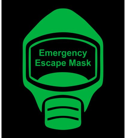 Emergency Escape Mask (or Smoke Hood, or Gas Mask) Sign Sticker