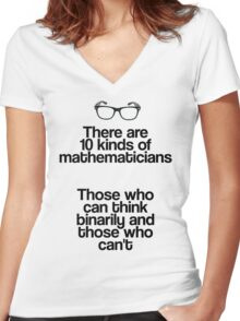 Maths - Binary - Funny Women's Fitted V-Neck T-Shirt