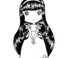 Chibi Girl BW by JhekieJ