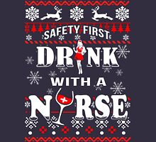 Safety First Drink With Nurse Women's Fitted V-Neck T-Shirt