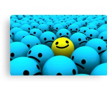 Yellow smiling emoji in a crowd of blue sad emojis Canvas Print