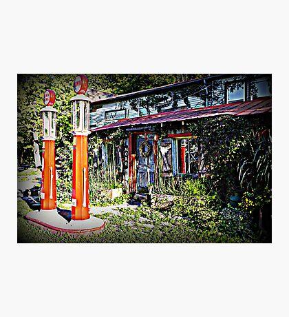 Gas pumps & Antique Store Photographic Print