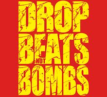 Drop Beats Not Bombs (Yellow) Womens Fitted T-Shirt