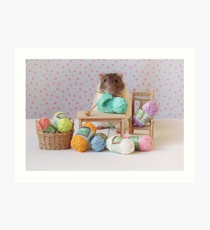 Snoozy wanted to knit ! Art Print
