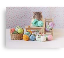 Snoozy wanted to knit ! Metal Print