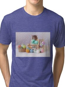 Snoozy wanted to knit ! Tri-blend T-Shirt