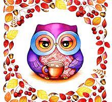 Autumn Wreath - Owl with Cocoa by Annya Kai