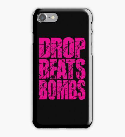 Drop Beats Not Bombs (Magenta) iPhone Case/Skin