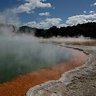 Champagne pool and cloud. Waiotapu. NZ by Ian Hallmond