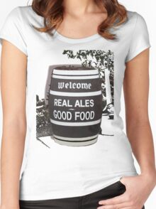 beer barrel real ales good food slogan Women's Fitted Scoop T-Shirt