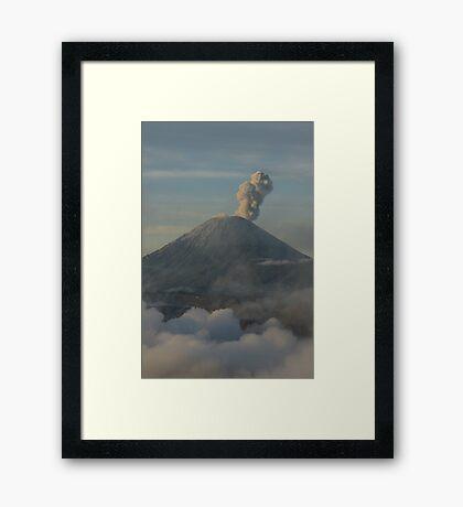 Early morning eruption. Mt Semeru, Java. Indonesia. Framed Print