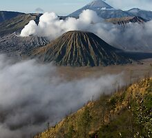 Steam erupts from Bromo and Semeru volcanic vents. by Ian Hallmond