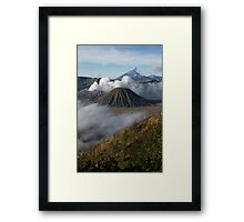 Steam erupts from Bromo and Semeru volcanic vents. Framed Print