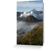 Steam erupts from Bromo and Semeru volcanic vents. Greeting Card