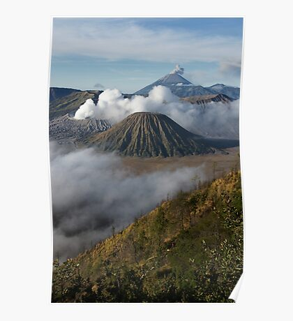 Steam erupts from Bromo and Semeru volcanic vents. Poster