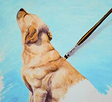 Brushing the Dog - Oil Painting by csforest