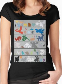 Pokemon Size Chart Color Women's Fitted Scoop T-Shirt