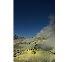 Steaming sulfur vents. White Island volcano. NZ Photographic Print