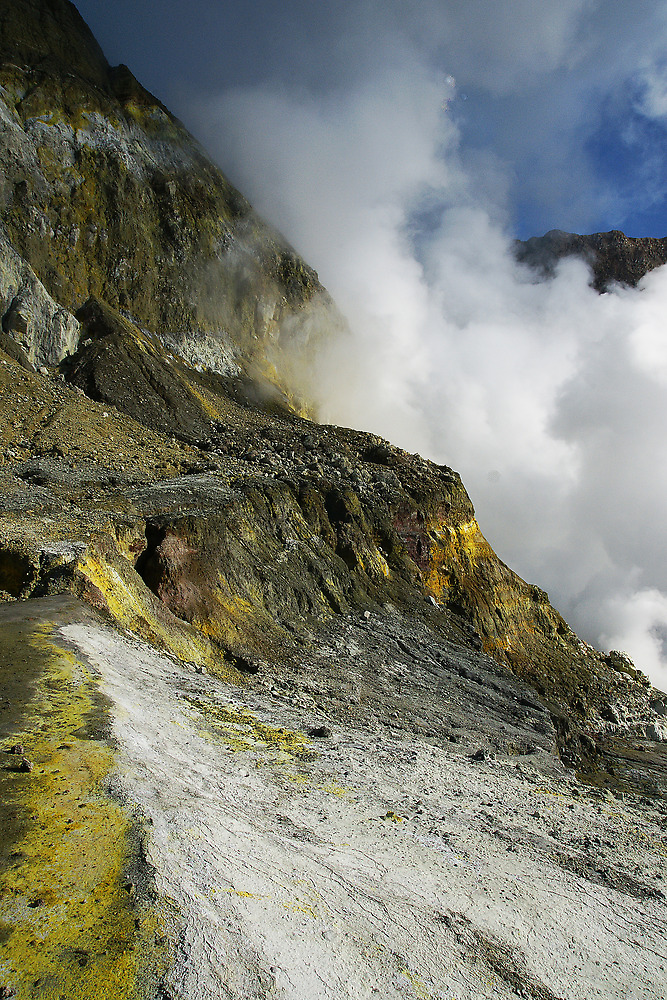 Crater wall of the White Island volcano. NZ by Ian Hallmond