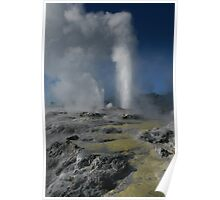 Pohutu and Prince of Wales geysers. Rotorua. NZ Poster