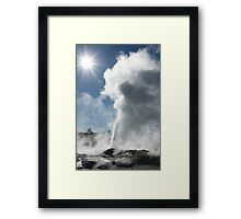 Pohutu geyser and sun. Rotorua. NZ Framed Print