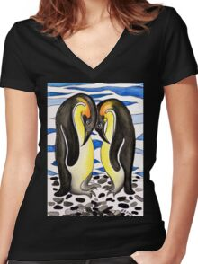I CHOOSE YOU - PENGUIN LOVE Women's Fitted V-Neck T-Shirt