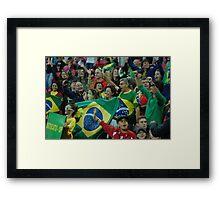 Brazil fans at Wembley  Framed Print