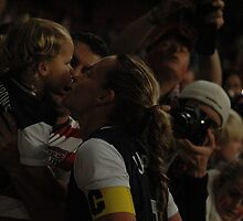 USA captain Christie Rampone finds her daughter in the crowd  by Matt Eagles