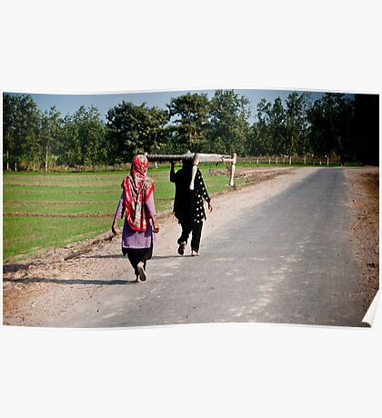 Village women carrying a cot Poster