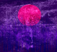 Violet Sunset Abstract Painting #2 by Nhan Ngo