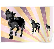 Abstract background with horses Poster