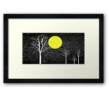 Full Moon Night Abstract Painting Framed Print