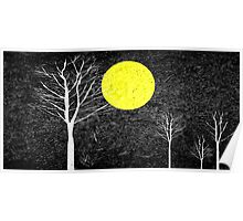 Full Moon Night Abstract Painting Poster